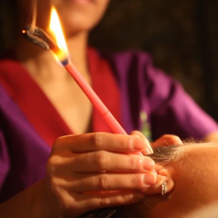 Массаж головы с арома свечами